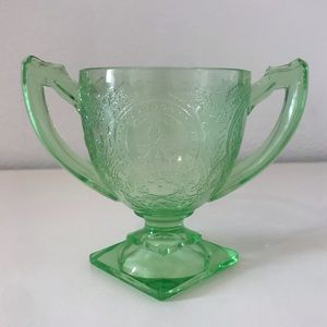 Horseshoe Green Glass Sugar Bowl